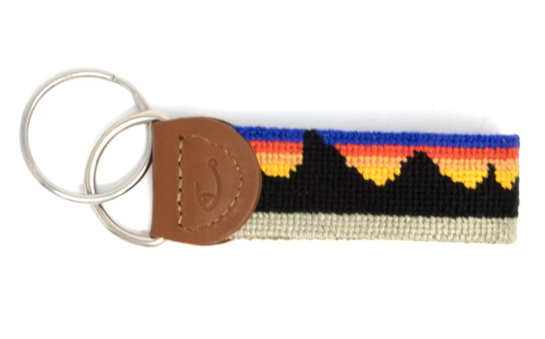 Mountain Key Fob  Mountain Key Chain  Leather Key Fob Leather Handstitched Needlepoint Mountain Range Key Fob Key Chain by Huck Venture
