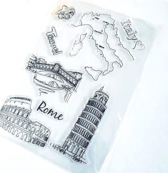 Clear Map Of Italy.Italy Map Clear Stamp Rome Landmark Silicone Stamp Travel Clear Stamp Scrapbooking Stamp Bullet Journal Stamp Cs1060
