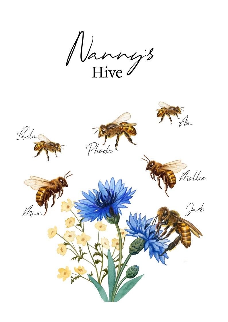 Custom bespoke family print Wall d\u00e9cor Home Nanny/'s Hive- Family Print A4 Personalised Bumble Bee Our Family