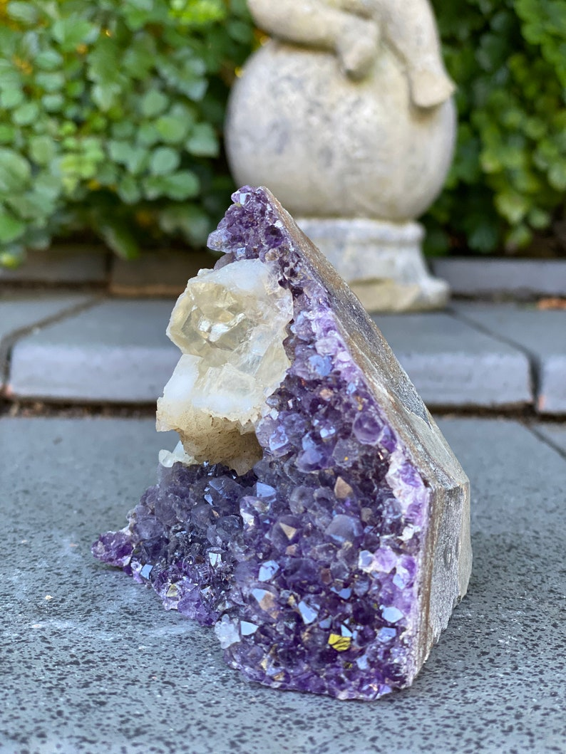 raw purple crystal cluster Strange specimen Amethyst geode