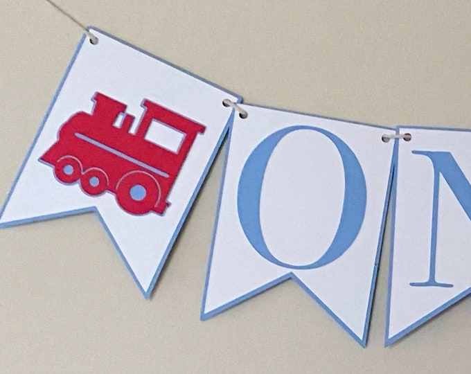 Red Train High Chair Banner - Birthday Party Banner, Train Themed Birthday Party Decor, First Birthday, One, Two