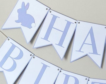Bunny Love Happy Birthday Banner - Some Bunny Party , Girl Boy Birthday Party Decor, Spring
