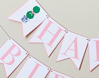 Darling Topiary Happy Birthday Banner - Topiary Party , Girl Birthday Party Decor, Bow Bash, Chinoiserie Chic