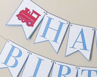 Red Train Happy Birthday Banner - Choo Choo Train Banner, Boy Birthday Party Decor, Blue & Red, Two