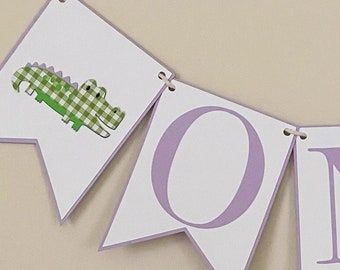 Green Gingham Gator High Chair Banner - Alligator Birthday Party Banner, First Birthday, One, Two