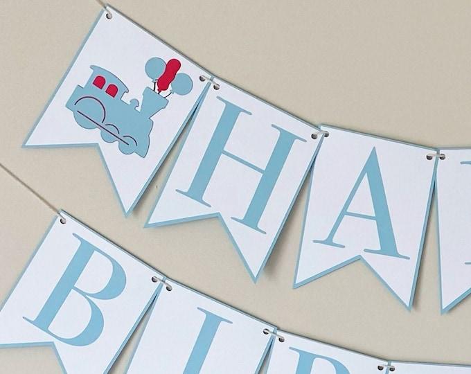 Balloon Train Happy Birthday Banner - Choo Choo Train Banner, Boy Birthday Party Decor, Blue & Red, Two