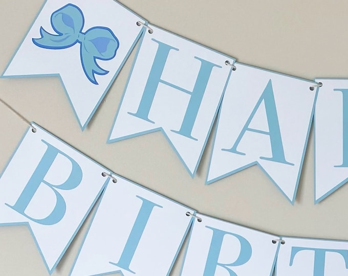 Ribbon Bow Happy Birthday Banner - Bow Party, Girl Birthday Decor, First Birthday, Second Birthday, Pink, Blue