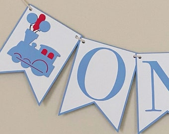 Balloon Train High Chair Banner - Birthday Party Banner, Train Themed Birthday Party Decor, First Birthday, One, Two
