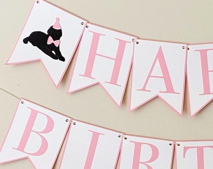 Black Lab Puppy Happy Birthday Banner - Dog Birthday Party Banner, Pink and Blue Birthday Party Decor, Kids Birthday