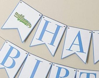 "Green Gingham Gator ""Happy Birthday"" Banner - Alligator Birthday Party Banner, Green Gingham Party Decor"