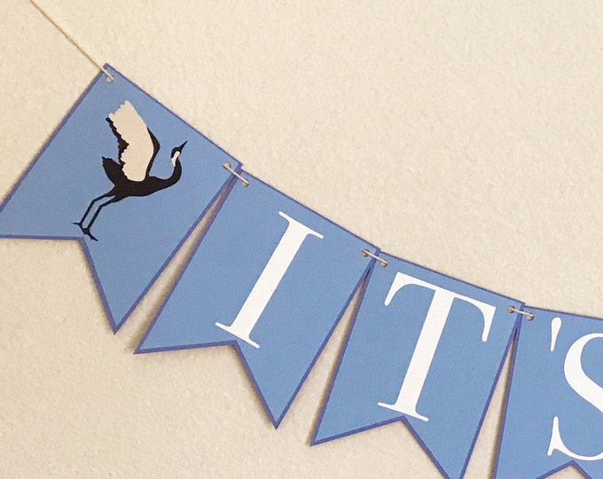 It's A Boy Crane Banner - Blue and White, Chinoiserie Chic Baby Shower, Gender Reveal, Blue Baby Shower Banner, Japanese Crane