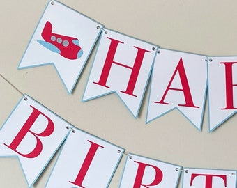 Airplane Happy Birthday Banner -  Boy Birthday Party Decor, First Birthday, Aviation, Time Flies