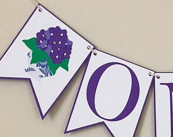 Violet High Chair Banner - Floral First Birthday, Little Flower Party, Floral, Purple and White