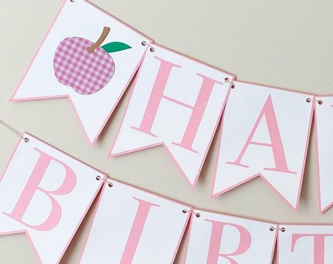 "Gingham Apple ""Happy Birthday"" Banner - Apple of Our Eye Birthday Party, Fall Birthday Party Banner"