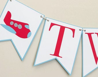 Airplane High Chair Banner - Birthday Party Banner, Aviation Birthday Party Decor, First Birthday, One, Two