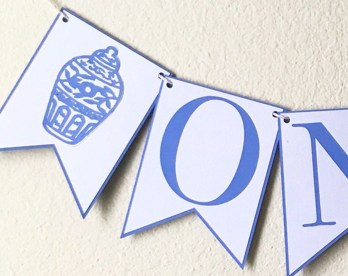 Ginger Jar High Chair Banner - Blue and White Birthday Party, Chinoiserie, Pagoda Decor, First Birthday, One, Two