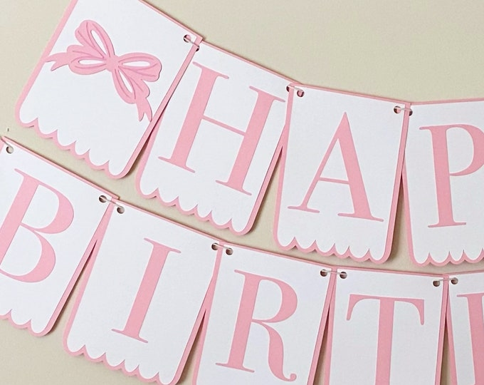 """Bow Bash """"Scalloped"""" - """"Happy Birthday"""" Banner - Bow Party, Girl Birthday Party Decor, First, Second Birthday, Pink, Blue"""