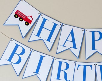 Firetruck Happy Birthday Banner - Things That Go Party Banner, Red and Blue Birthday