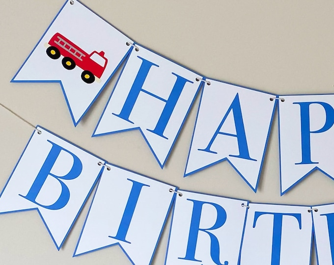 Fire Truck Happy Birthday Banner - Things That Go Party Banner, Red and Blue Birthday