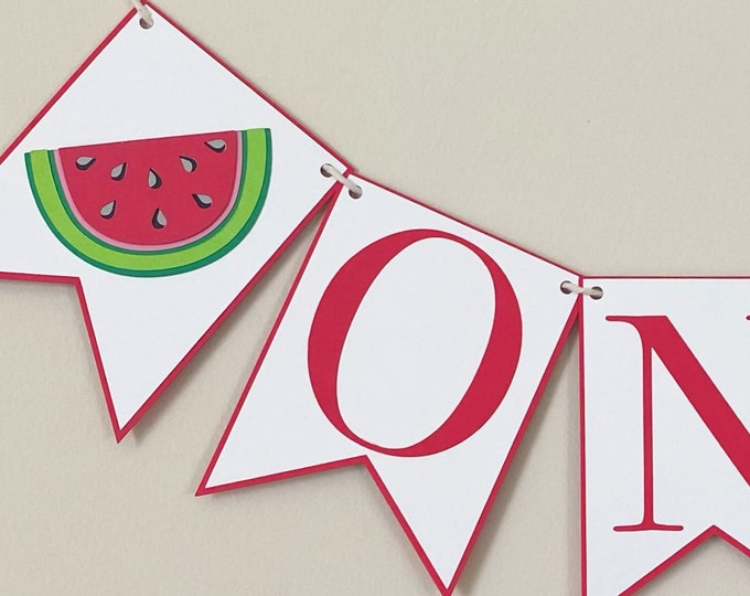 Watermelon High Chair Banner - One in a Melon Birthday Party Banner, Twotti Fruitti Party Decor, First Birthday, One, Two