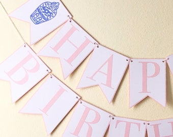 Ginger Jar Happy Birthday Banner - Chinoiserie Chic Birthday Party, Blue and White, Pink, Girl
