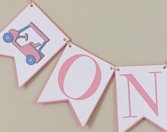 Golf Cart High Chair Banner - Birthday Party Banner, Hole In One Party Decor, First Birthday