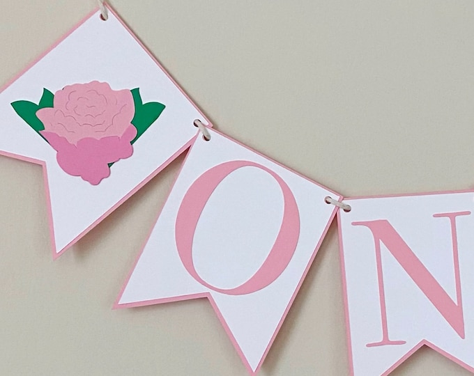 Peony High Chair Banner - Floral First Birthday, Little Flower Party, Floral, Pink and White, Pretty in Pink