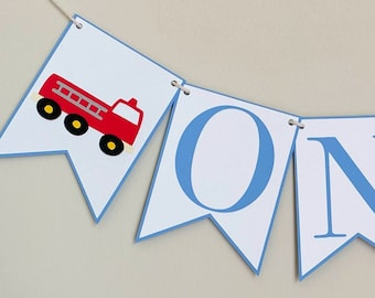 Fire Truck High Chair Banner - Birthday Party Banner, Fire Truck Themed Birthday Party Decor, First Birthday, One, Two