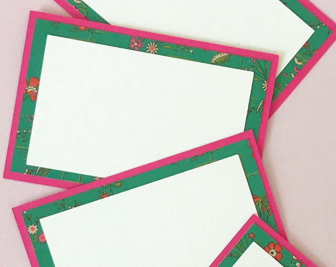 Magenta Pink & Green Chinoiserie Place Cards (Set of 12) - Chinoiserie Dinner Party Decor, Chintz, Food Label Cards, Hostess Gift