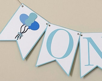 Balloon Bouquet High Chair Banner - Birthday Party Banner, Classic, First Birthday, One, Two