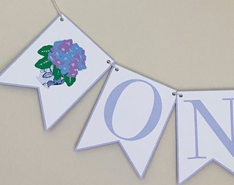 Hydrangea High Chair Banner - Floral First Birthday, Little Flower Party, Floral, Blue and White