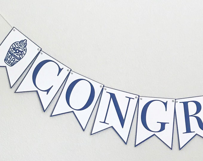Congrats Banner - Navy Blue and White Ginger Jar Banner, Bridal Shower, Engagement Party, Graduation, Chinoiserie Chic Party Décor
