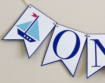 Sail Boat High Chair Banner - Birthday Party Banner, Nautical Birthday Party Decor, First Birthday, One, Two