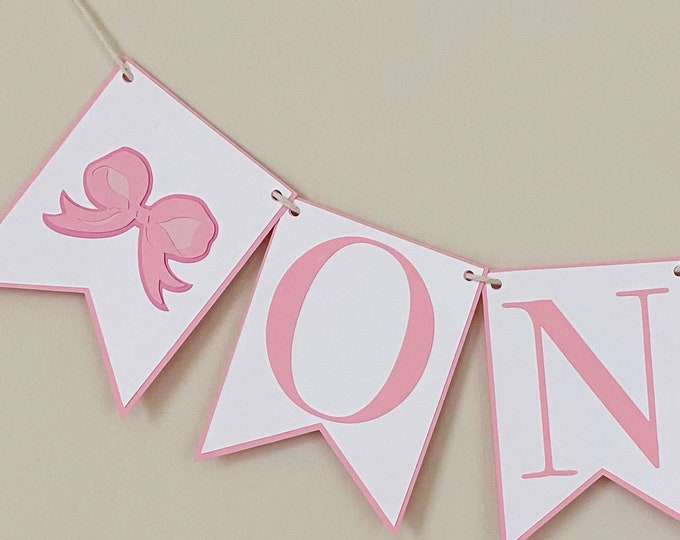 Ribbon Bow High Chair Banner - Birthday Party, Blue and White Bow, Party Decor, First Birthday, One, Two