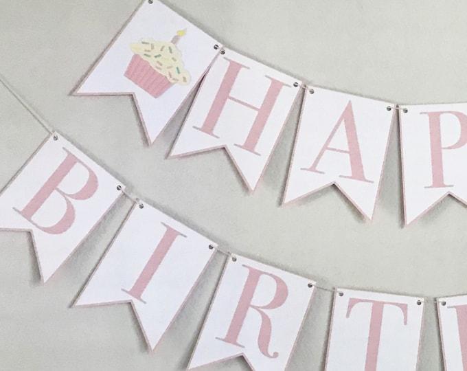 Sprinkle Cupcake Happy Birthday Banner - Sweet Shop Girl Birthday Party Decor, First Birthday, Second Birthday