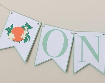 Orange Blossom High Chair Banner - Darling Clementine Birthday Party Banner, Little Cutie First Birthday Party Decor