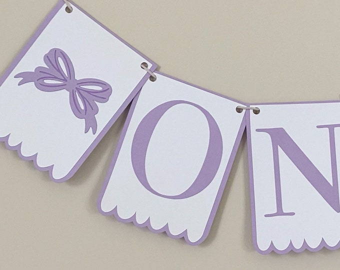 """Bow Bash """"Scalloped"""" High Chair Banner - Birthday Party Banner, Pink and White, Girl Birthday Party Decor, First Birthday, One, Two"""