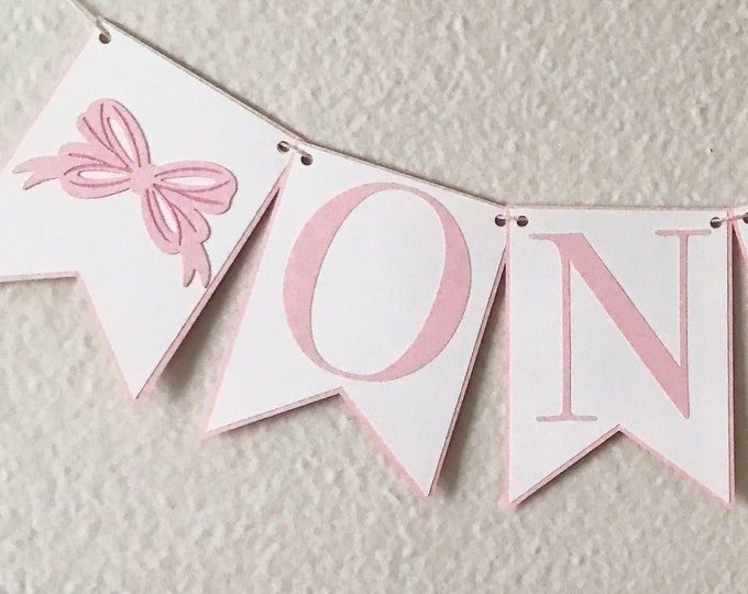 Bow Bash High Chair Banner - Birthday Party Banner, Pink and White, Girl Birthday Party Decor, First Birthday, One, Two