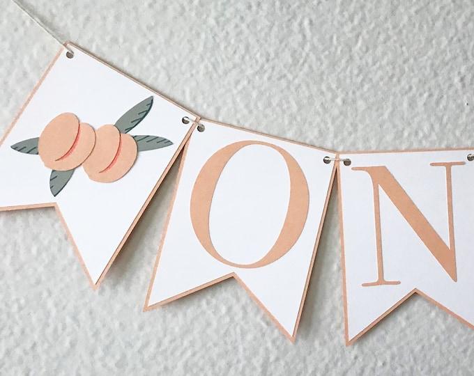 Sweet Peach High Chair Banner - Little Peach Birthday Party Banner, Pretty Little Birthday Party Decor, First Birthday, One, Two
