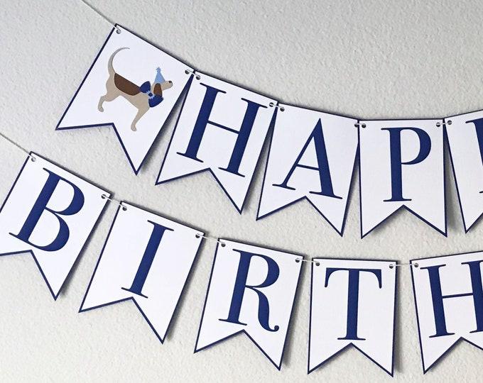 Puppy Party Happy Birthday Banner - Dog Birthday, Boy Birthday Party Decor, First Birthday, Little Gent