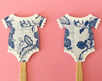 Blue and White Baby Onesie Cupcake Toppers (Set of 12) - Blue and White Baby Shower Decor, Chinoiserie Chic Sprinkle