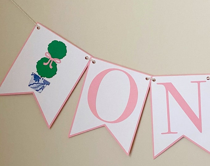 Darling Topiary High Chair Banner - Bow Birthday Party, Pink and White, Girl Birthday Party Decor, First Birthday