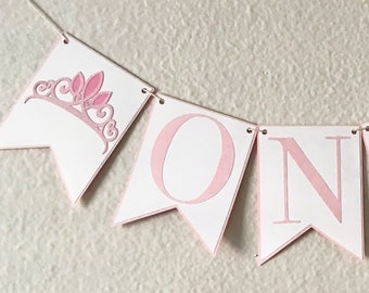 Princess Tiara Party High Chair Banner - Birthday Party Crown Banner, Pink and White, Girl Birthday Party Decor, First Birthday, One, Two