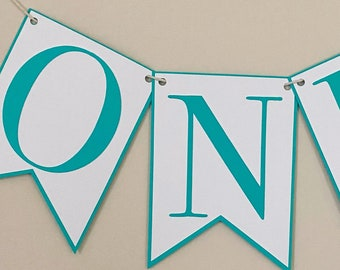Large Classic Birthday High Chair Banner - 5x7 flags,  Classic Party Decor, First Birthday, One, Two, Three