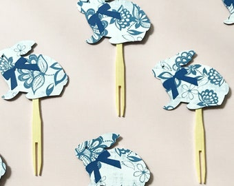 Blue and White Bunny Cupcake Toppers (Set of 12)  - Easter Cupcake Toppers, Bunny Baby Shower, Some bunny is One, Bunny Bash