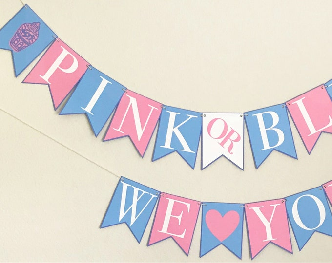 """Pink and Blue Ginger Jar Gender Reveal Banner - """"Pink or Blue We Love You"""", Baby Shower, Chinoiserie Chic, Blue and White Party"""