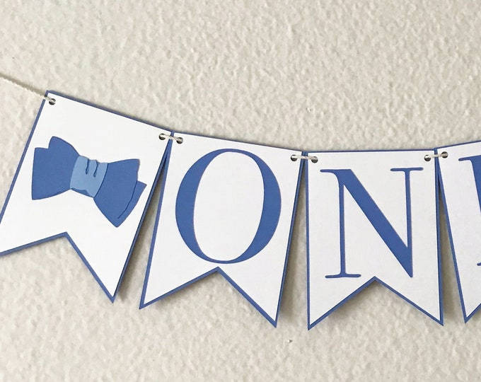 Bow Tie High Chair Banner - Birthday Party Banner, Blue and White, Boy Birthday Party Decor, First Birthday, One, Two