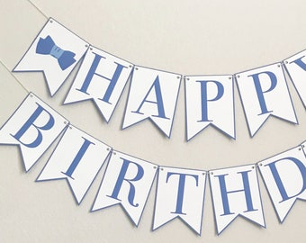 Bow Tie Happy Birthday Banner - Birthday Party Banner, Boy Birthday Party Decor, First Birthday, Little Gentleman