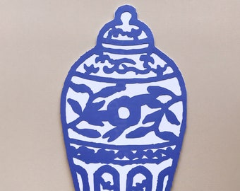 Blue and White Ginger Jar Cake Topper - Chinoiserie Chic Bridal Shower, Cake Decorations, Blue and White Party, Birthday Cake Topper