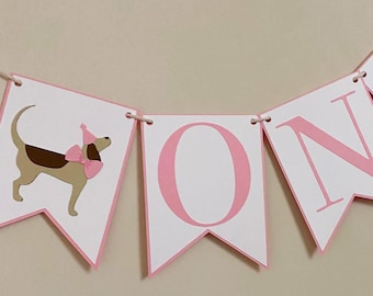 Puppy Party High Chair Banner - Birthday Party Banner, Blue and White, Boy Birthday Party Decor, First Birthday, One, Two
